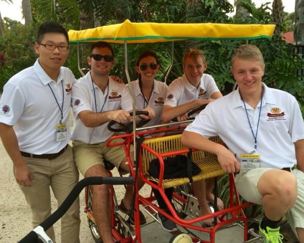 InNOLEvation® Project students Zhiqiang Shu, Chris Holzworth, Katie Wallshein, C.J. Wagner and Chris Mergenthaler at the Jim Moran Classic in Orlando.